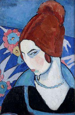 mujeres artistas, retrato de Jéane Hebuterne